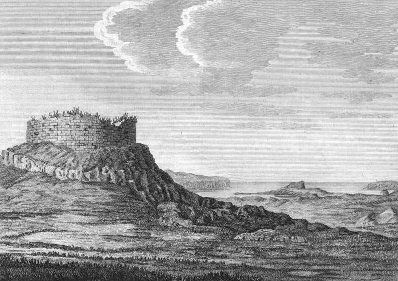 Engraving of views of Dun Beag. From T Pennant, 'A Tour in Scotland, 1769', pl.xxxvi.