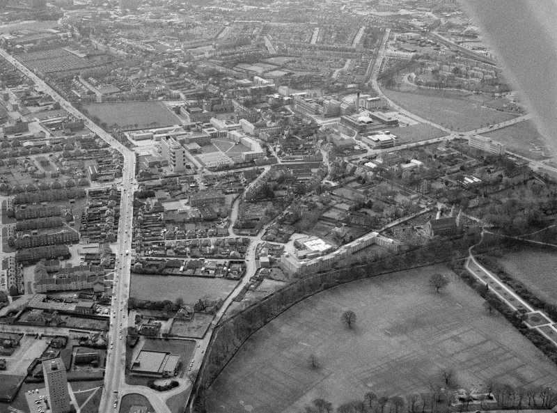 General oblique aerial view centred on St Machar's Cathedral, Aberdeen, looking to the SSW.