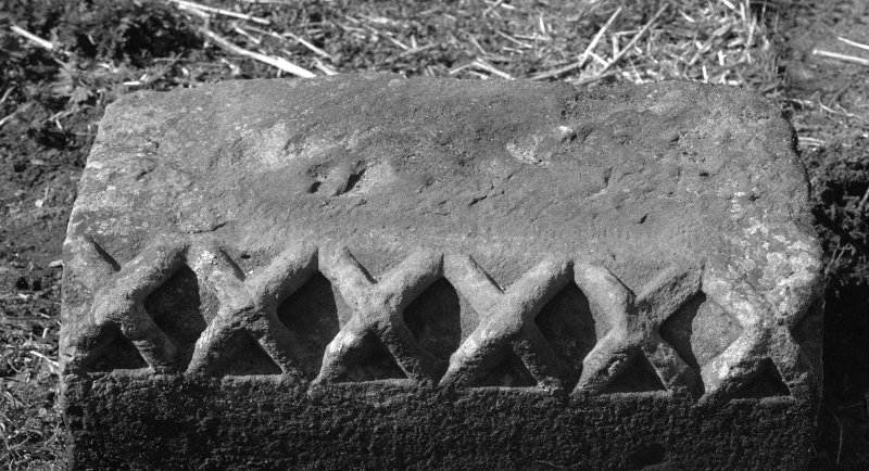 Detail of fragment of dog toothed carved stone.