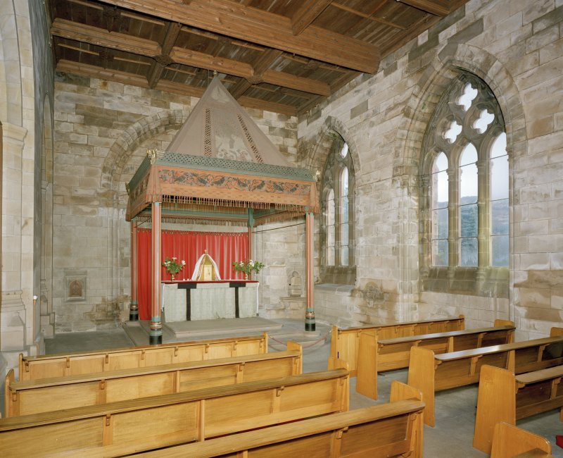 View of 19th century South East aisle from West