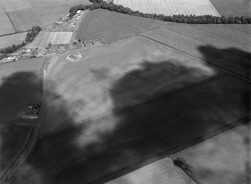 Oblique aerial view centred on the cropmarks of the pit alignment, pit enclosure, possible barrows and rig at Inchbare, looking to the NNW.