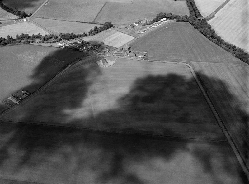 Oblique aerial view centred on the cropmarks of the pit alignment, pit enclosure, possible barrows and rig at Inchbare, looking to the NW.
