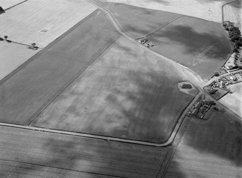 Oblique aerial view centred on the cropmarks of the pit alignment, pit enclosure, possible barrows and rig at Inchbare, looking to the SSW.