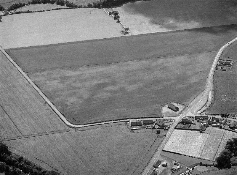 Oblique aerial view centred on the cropmarks of the pit alignment, pit enclosure, possible barrows and rig at Inchbare, looking to the SSE.