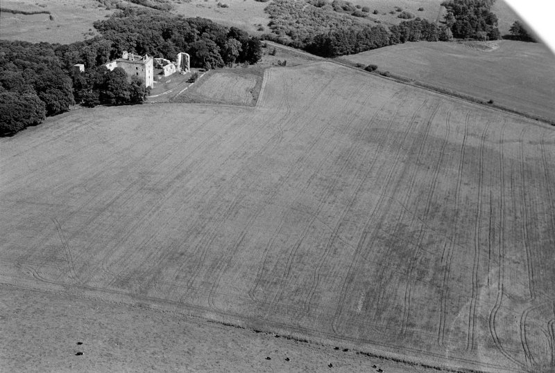 Oblique aerial view centred on the remains of Spynie Palace, looking to the NE.