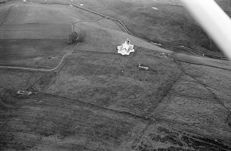 Oblique aerial view centred on Corgarff Castle, looking to the ENE.