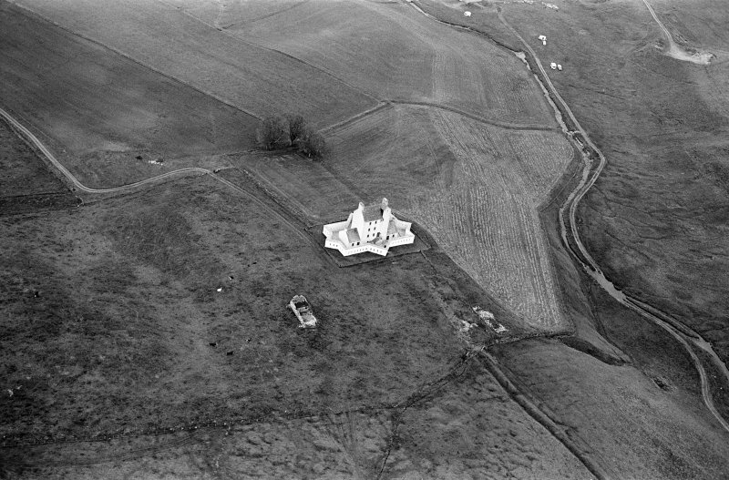 Oblique aerial view centred on Corgarff Castle, looking to the NE.