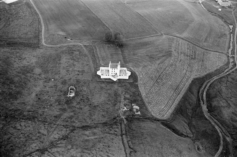 Oblique aerial view centred on Corgarff Castle, looking to the NNE.