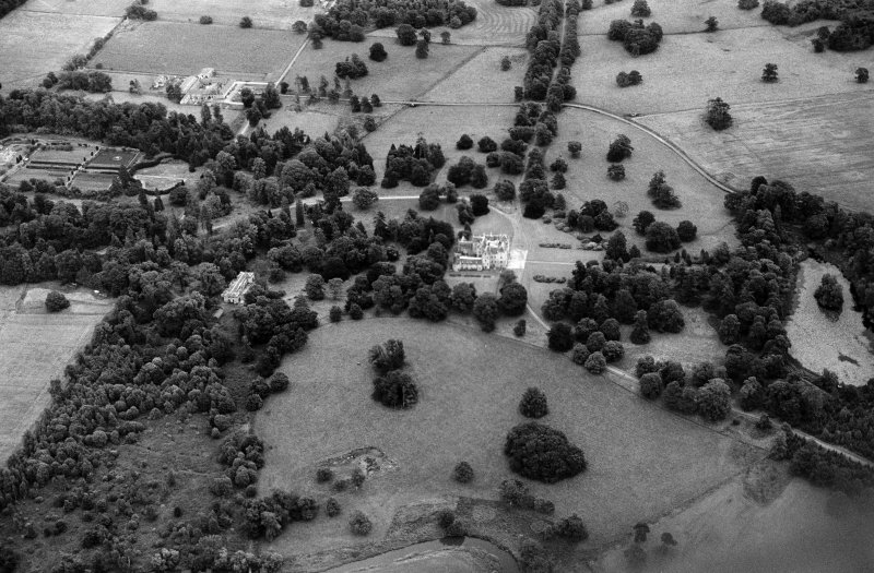 Oblique aerial view centred on Keith Hall and policies, looking to the ENE.