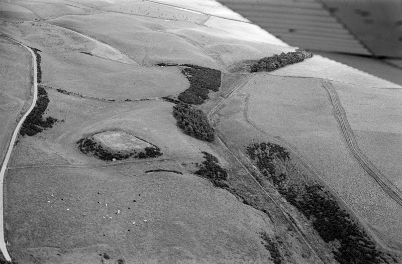Oblique aerial view centred on the remains of the motte and bailey at Peel of Fichlie, looking to the ENE.