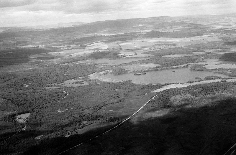 General oblique aerial view of Loch Kinord with Loch Davan beyond, looking to the NNE.