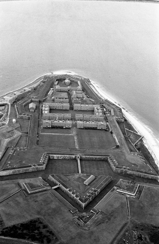 Oblique aerial view centred on Fort George, looking to the WSW.