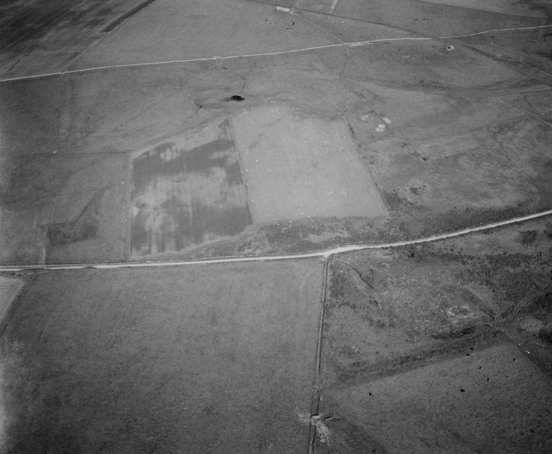 Oblique aerial view centred on the remains of the stone rows at the Hill O' Many Stanes, Clyth with cropmarks adjacent, looking to the NE.