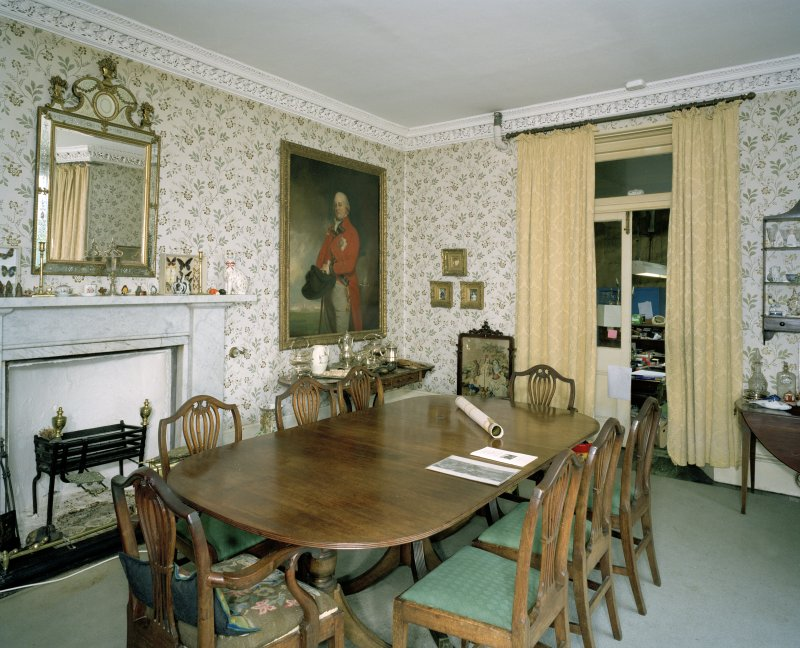 Interior. Ground Floor. Dining Room showing white marble fireplace and door to Billiard Room. Scanned Image of E 64410 CN