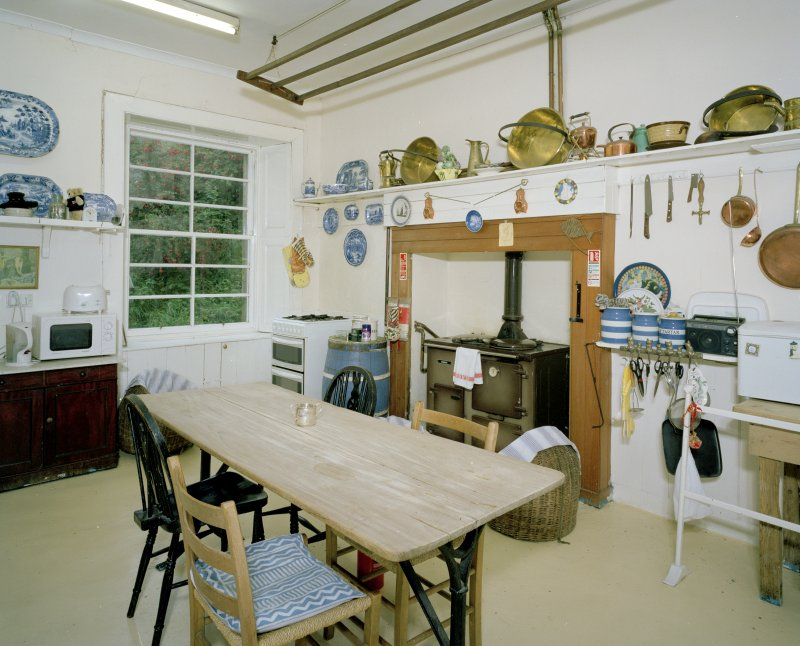 Interior of Canna House showing ground floor kitchen