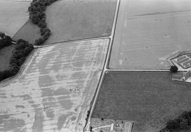 Oblique aerial view centred on the cropmarks of the Roman Temporary Camp at Stracathro with the churchyard adjacent, looking to the SW.