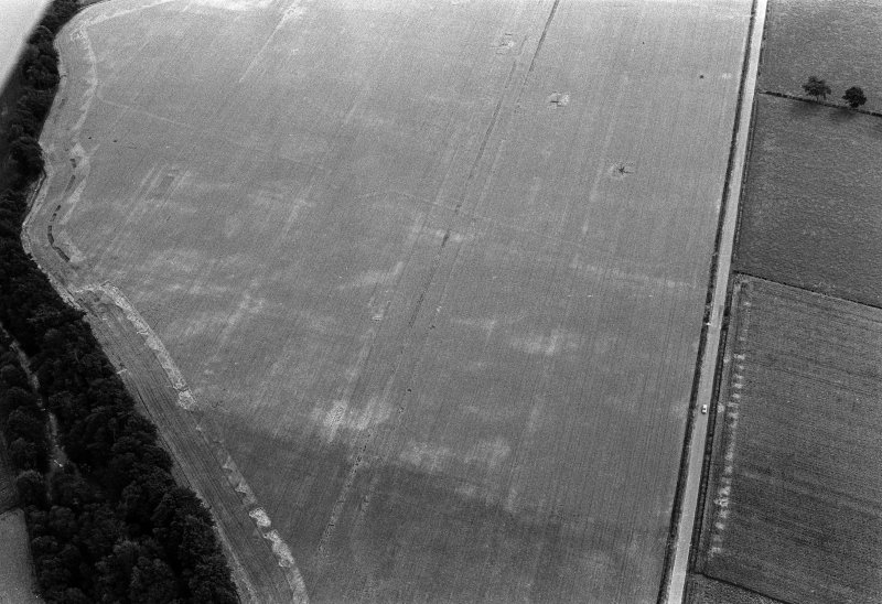 Oblique aerial view centred on the cropmarks of the Roman Temporary Camp at Stracathro with the ring ditch at Smiddyhill adjacent, looking to the SE.