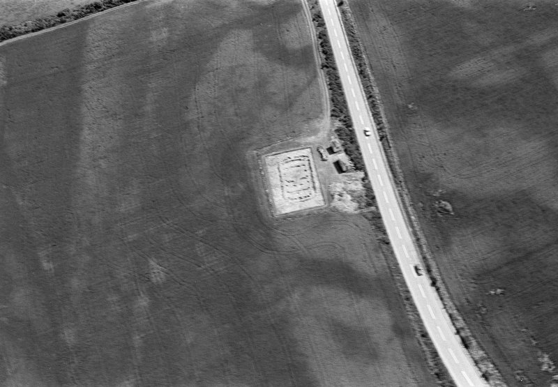 Oblique aerial view centred on the excavation of the timber hall at Balbridie, looking to the ESE.