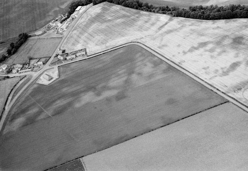Oblique aerial view centred on the cropmarks of the pit defined cursus, unenclosed settlement, ring ditches, pits and rig with Stracathro Roman Temporary Camp adjacent at Inchbare North, looking to the N.