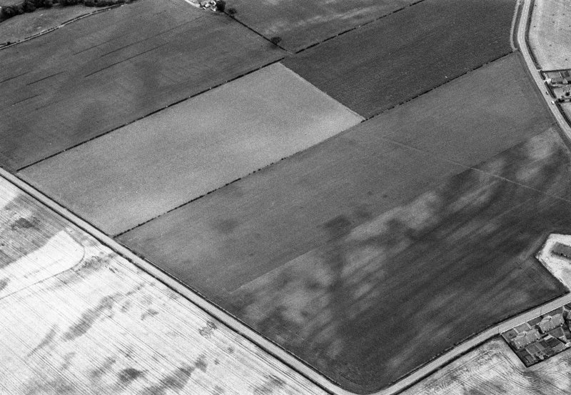 Oblique aerial view centred on the cropmarks of the pit alignment, pit enclosure and rig at Inchbare, looking to the SSE.