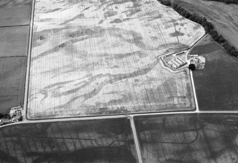 Oblique aerial view centred on the cropmarks of the Roman Temporary Camp and Fort at Stracathro, looking to the NW.