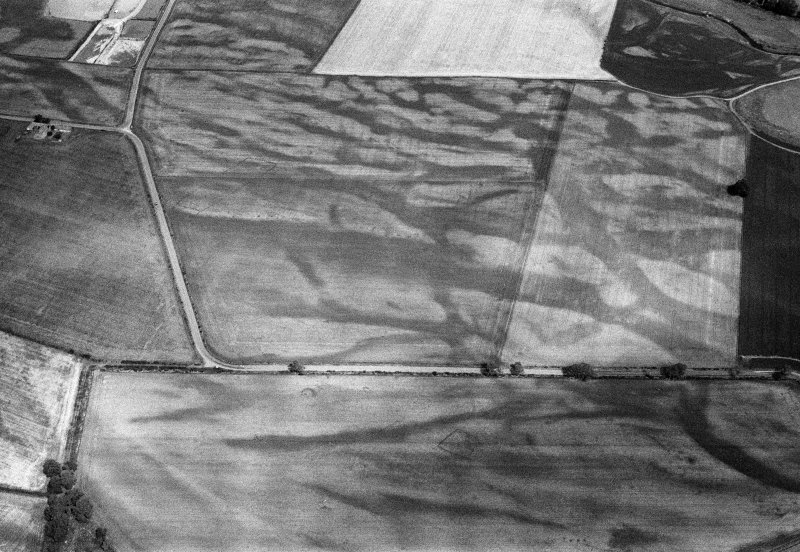 Oblique aerial view of the cropmarks of the pit defined cursus, enclosed cremation cemetery, rectilinear enclosure, ring ditch and rig at Balneaves, looking to the NNW.