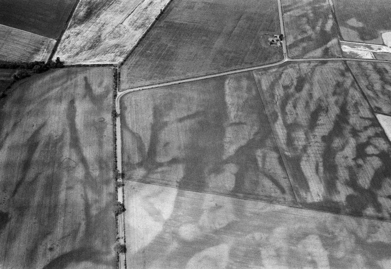 Oblique aerial view of the cropmarks of the pit defined cursus, enclosed cremation cemetery, rectilinear enclosure, ring ditch and rig at Balneaves, looking to the W.