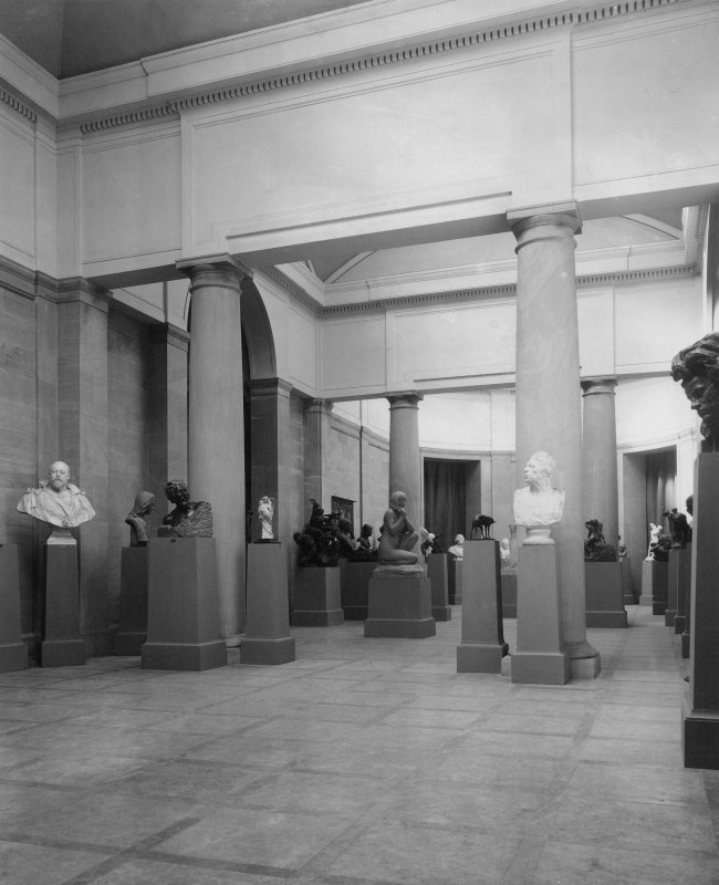 Interior view of the Royal Scottish Academy, Edinburgh, showing sculpture hall.
