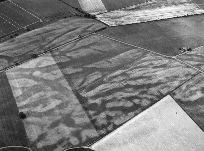 Oblique aerial view centred on the cropmarks of the pit defined cursus, enclosed cremation cemetery, rectilinear enclosure, ring ditch and rig at Balneaves, looking to the SSW.