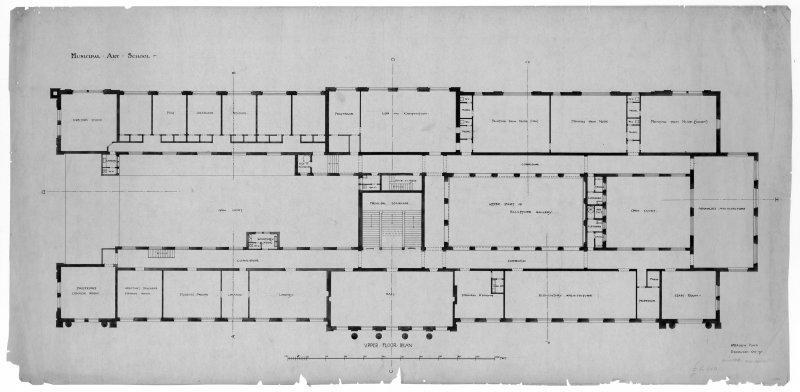 Drawing showing upper floor plan of Edinburgh College of Art.