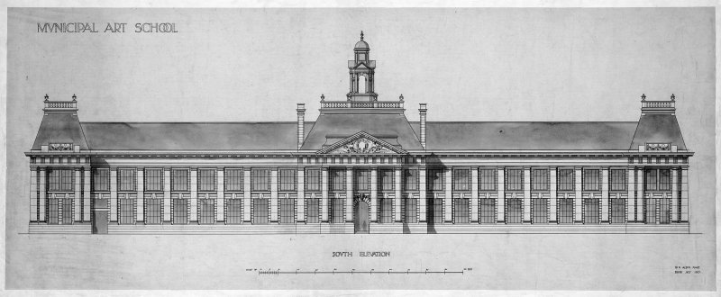 Drawing showing South elevation of Edinburgh College of Art.