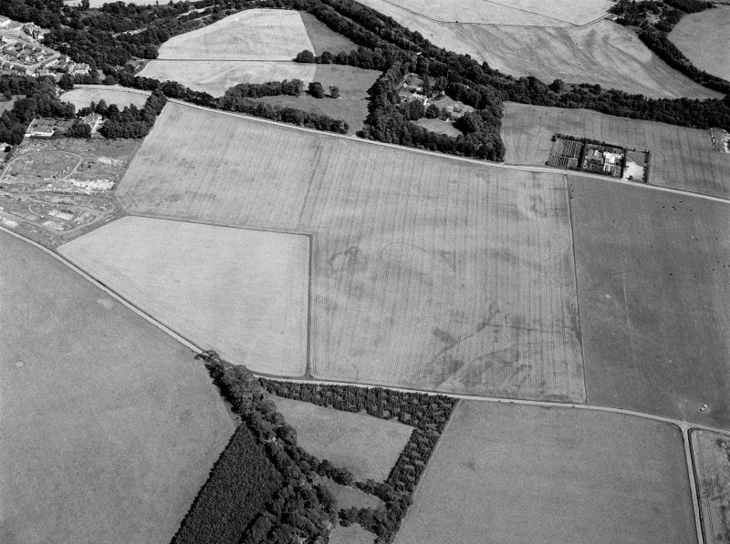 Oblique aerial view centred on the cropmarks of the settlement, roundhouses, ring ditches and enclosure at Balblair with the unenclosed settlement at Broadley adjacent, looking to the ESE.