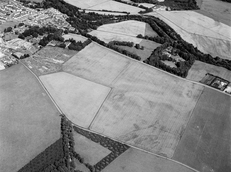Oblique aerial view centred on the cropmarks of the settlement, roundhouses, ring ditches and enclosure at Balblair with the unenclosed settlement at Broadley adjacent, looking to the ENE.