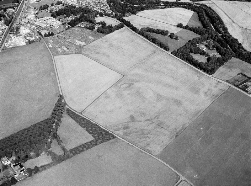 Oblique aerial view centred on the cropmarks of the settlement, roundhouses, ring ditches and enclosure at Balblair with the unenclosed settlement at Broadley adjacent, looking to the NE.
