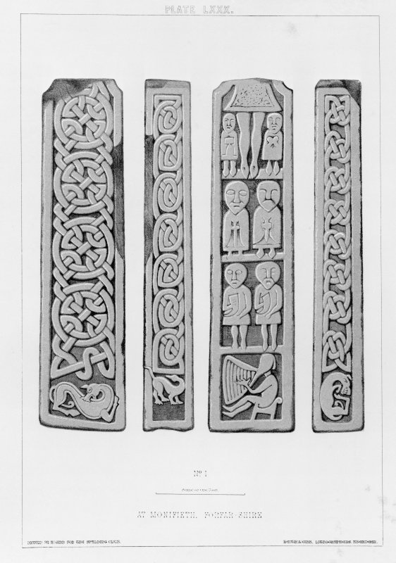 Cross-shaft at Monifieth, Stuart no.1 (Allen and Anderson no.4). From J Stuart, The Sculptured Stones of Scotland, vol. ii, plate lxxx.