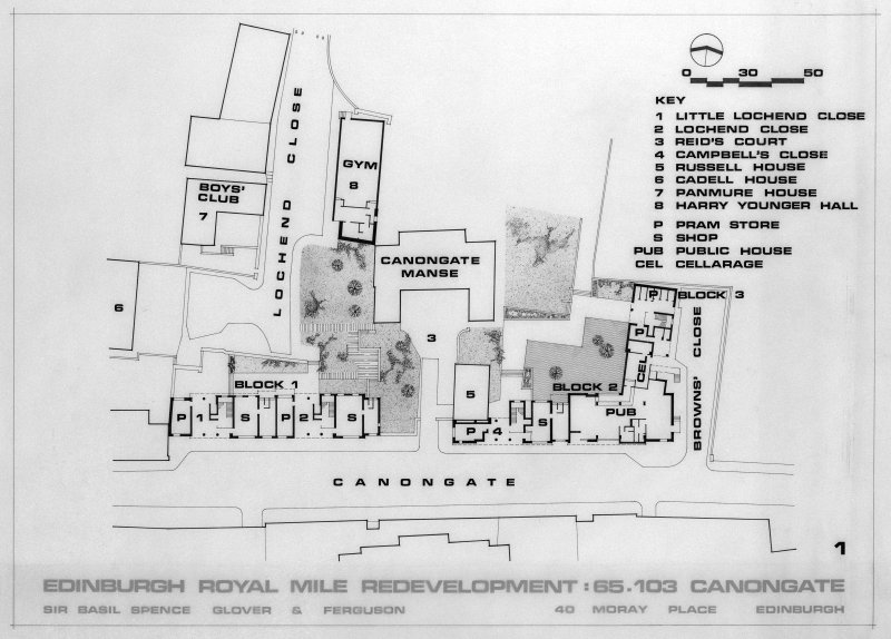 Photographic copy of block plans of development area.