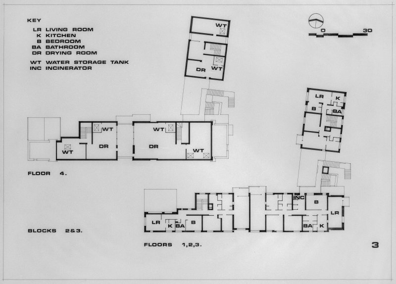 Photographic copy of plans of all floors for blocks 2 and 3.