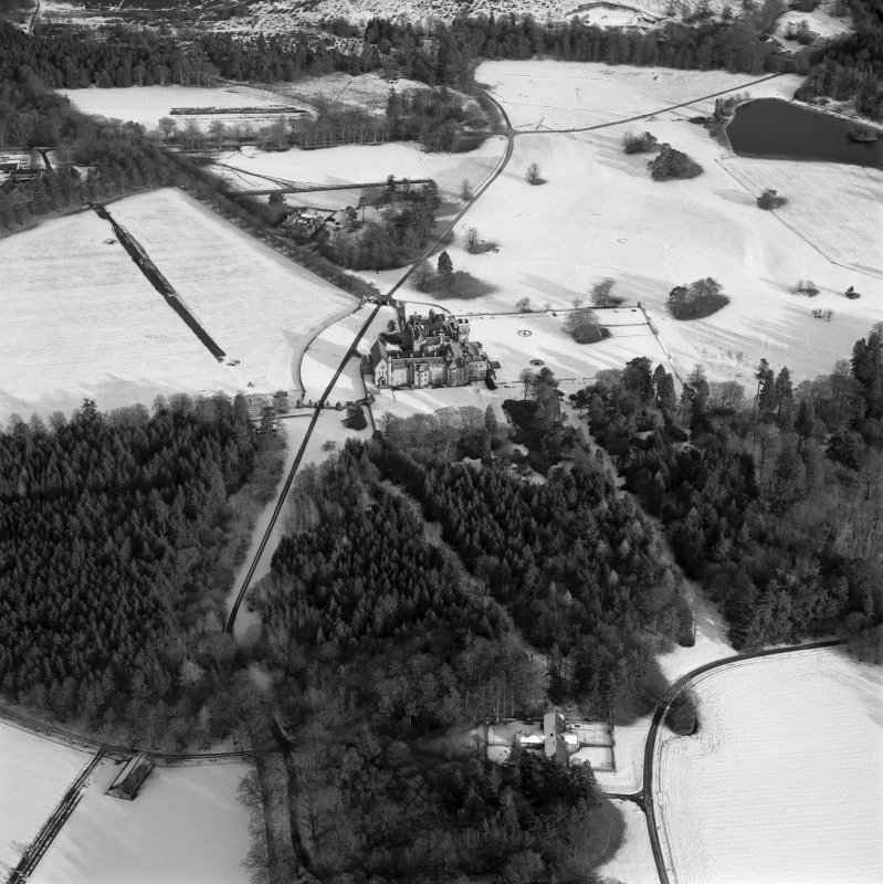 Oblique aerial view of country house taken from the W.