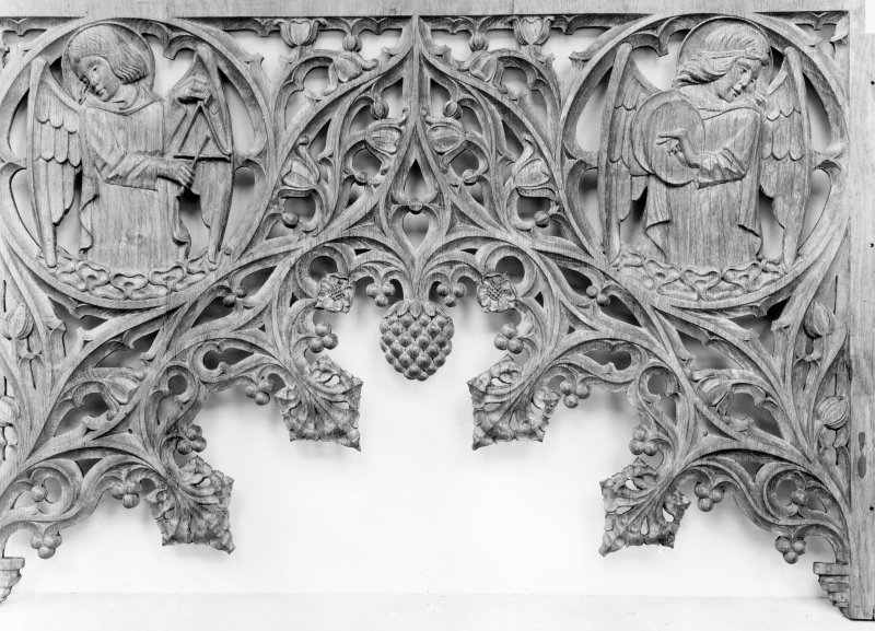 Scanned image of detail of woodwork.