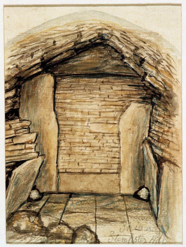 Scanned image of watercolour drawing of cairn interior - sketch of back of chamber.