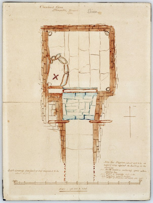 Scanned image of watercolour drawing showing ground plan of chamber.