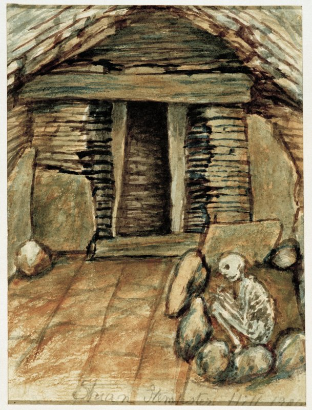 Scanned image of watercolour drawing of cairn interior showing chamber and burial.