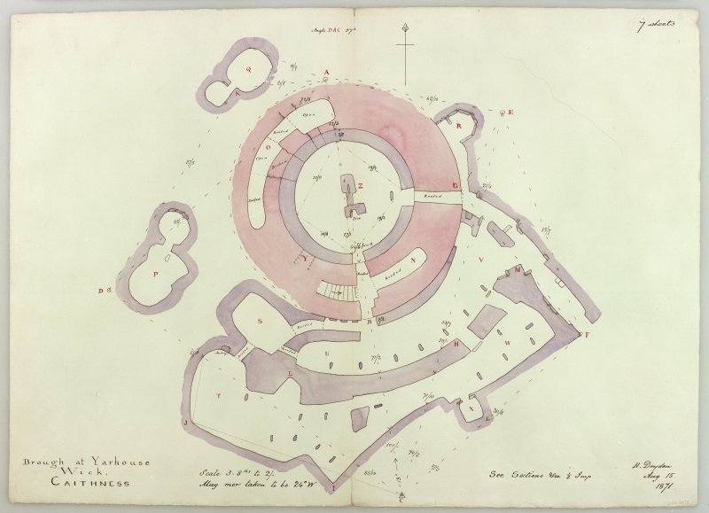Plan of whole site. H Dryden, August 15, 1871. Copied in colour, 1993.  Digital copy of a photograph.