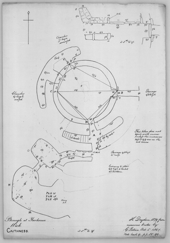 "Plans with measurements (3/8"":2') and plan of entrance passage (3/8"":1') from measurements and notes by G Petrie, October 5 1867. Notebook 9, pp85-96. Digital copy of a photograph."