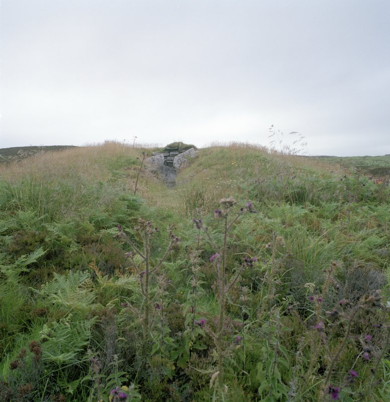 View of chambered cairn from S.