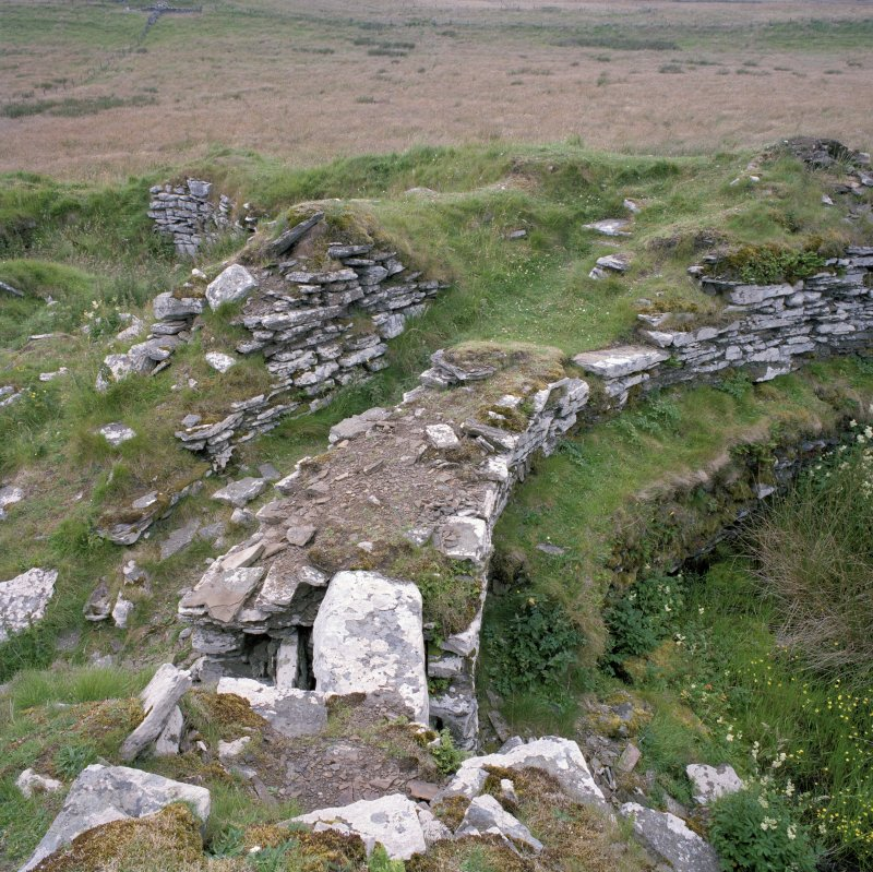 Detail of broch wall on S side. Digital copy of photograph.