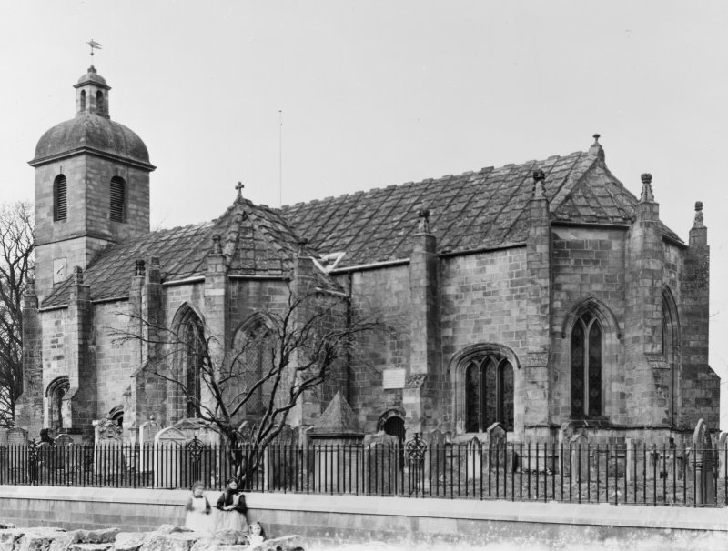Historic photograph showing view from SE of Ladykirk Parish Church.