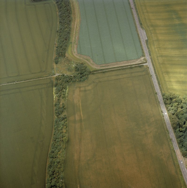 Oblique aerial view centred on the cropmarks of the fort, taken from the ESE.