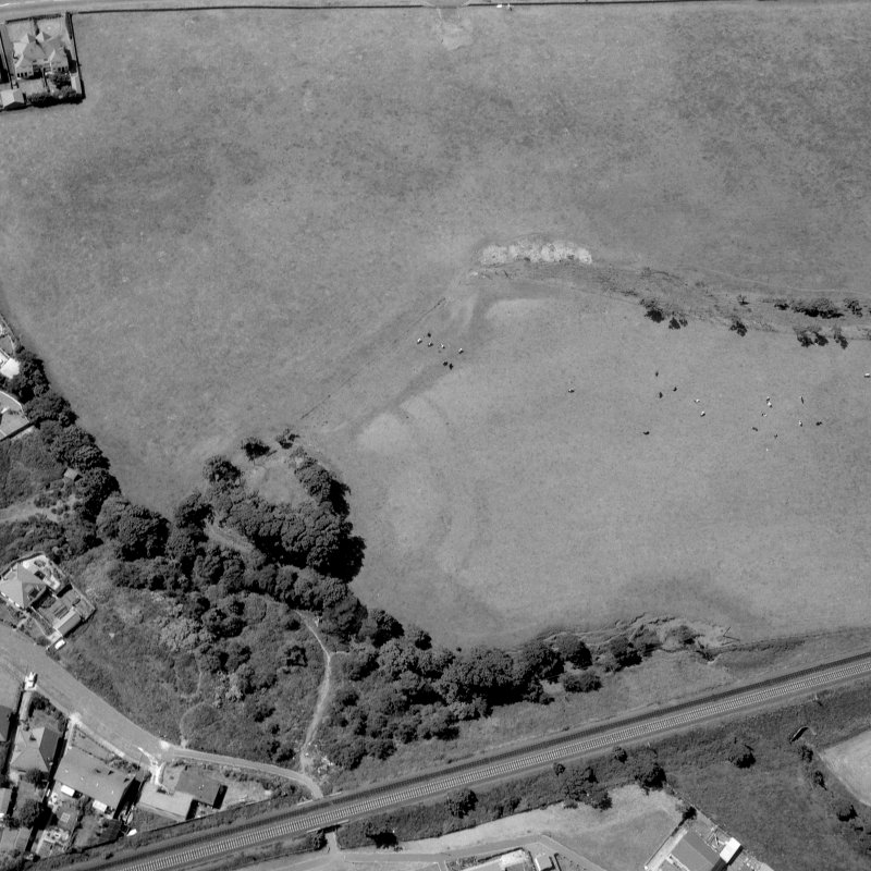 Oblique aerial view of Montfode Mount motte and earthwork.