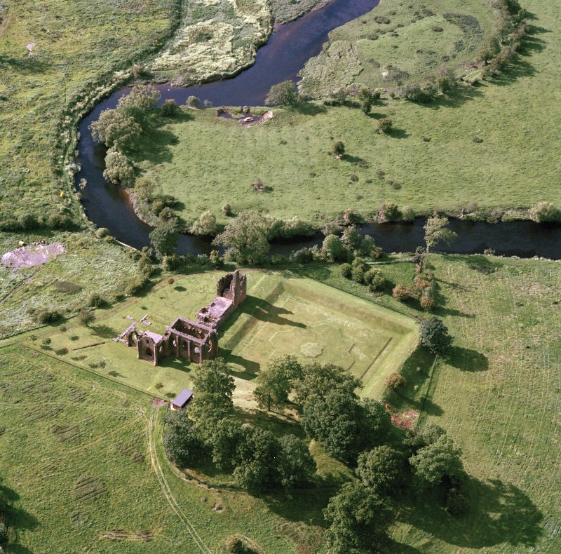 Oblique aerial view of Lincluden church and nunnery